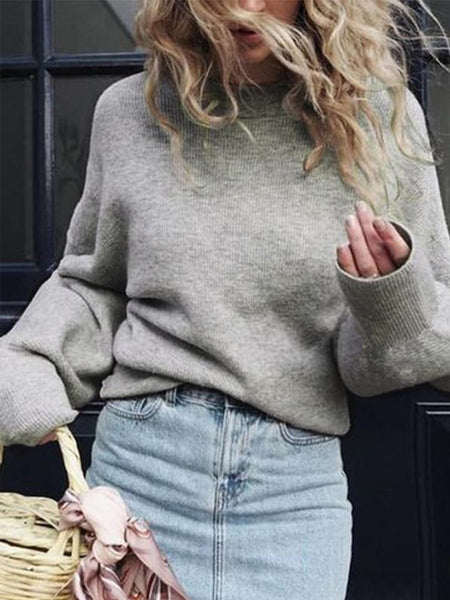 PMS Sweaters gray / s Crew Neck  Plain  Puff Sleeve Sweaters