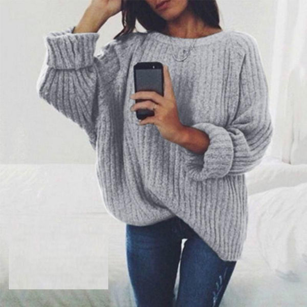 PMS Sweaters Gray / s Fashion Round Neck Long Batwing Sleeve Knitting Plain Sweaters