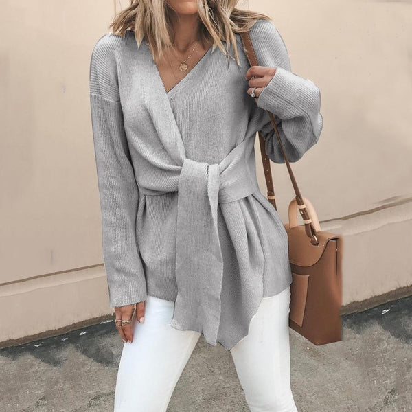PMS Sweaters Gray / s Fasion V Neck Solid Color Bandage Sweater