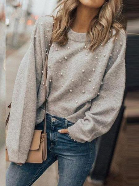 PMS Sweaters gray / s Round  Neck  Beading  Plain Sweaters
