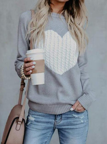 PMS Sweaters Gray / s Round Neck Heart Sweaters