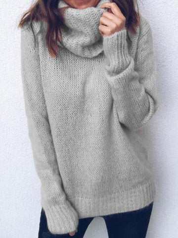 PMS Sweaters Gray / s Solid Color Long-Sleeved High-Neck Pullover Sweater
