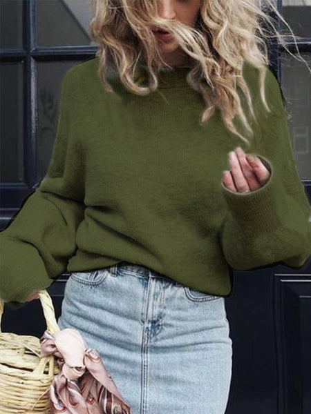 PMS Sweaters green / s Crew Neck  Plain  Puff Sleeve Sweaters