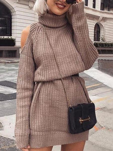 PMS Sweaters khaki / s A Long Sexy Sweater Dress With An Off-The-Shoulder High Neck