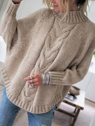 PMS Sweaters Khaki / s Little High-Necked Bat Sleeve Sweater