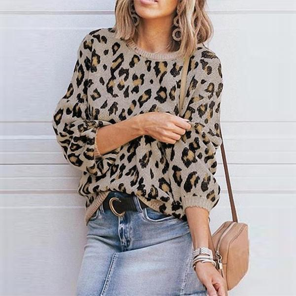 PMS Sweaters Khaki / s Round Neck Leopard Printed Sweaters