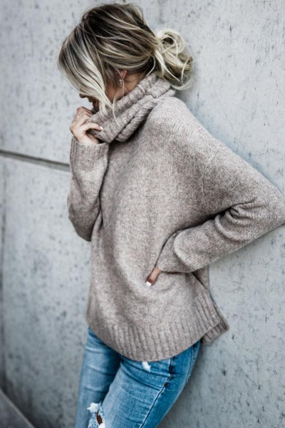PMS Sweaters Khaki / s Turtle Neck  Plain Warm Sweaters