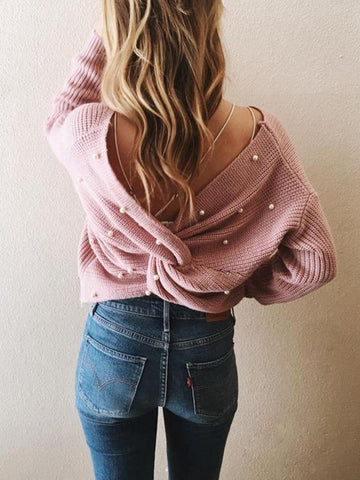 PMS Sweaters pink / one size Loose Backless Irregular Cross Pearl Knit Sweater
