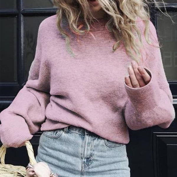 PMS Sweaters pink / s Crew Neck  Plain  Puff Sleeve Sweaters