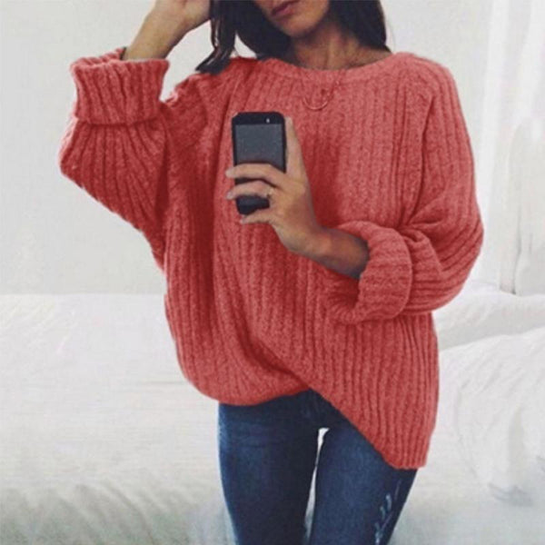 PMS Sweaters Red / m Fashion Round Neck Long Batwing Sleeve Knitting Plain Sweaters
