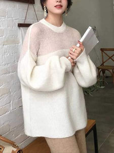 PMS Sweaters White / one size Casual Bishop Sleeve Round Neck Mohair Loose Sweater