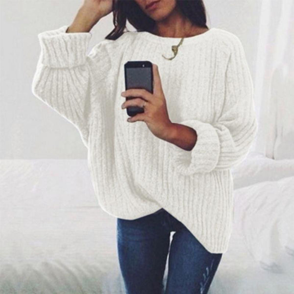 PMS Sweaters White / s Fashion Round Neck Long Batwing Sleeve Knitting Plain Sweaters