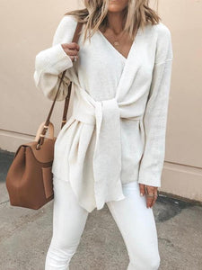 PMS Sweaters White / s Fasion V Neck Solid Color Bandage Sweater