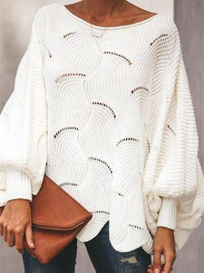 PMS Sweaters White / s Pure Color Loose   Jumper OL Commuter Hollow Knit Sweater