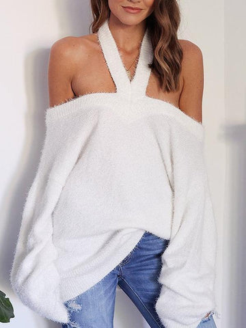 PMS Sweaters white / s Sexy Off-Shoulder Halter Sweater