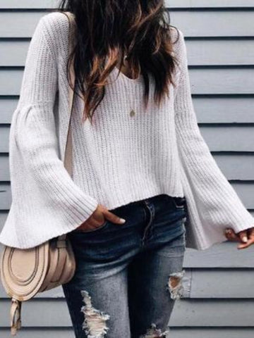 PMS Sweaters White / s Sexy V-Neck Wool Knit Loose Trousers Sleeve Sweater