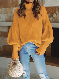 PMS Sweaters Yellow / s Elegant Long Sleeved High Neck Loose Sweater