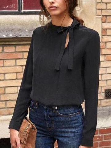 PMS T-Shirts Black / s Collar Bow Long Sleeve T-Shirt
