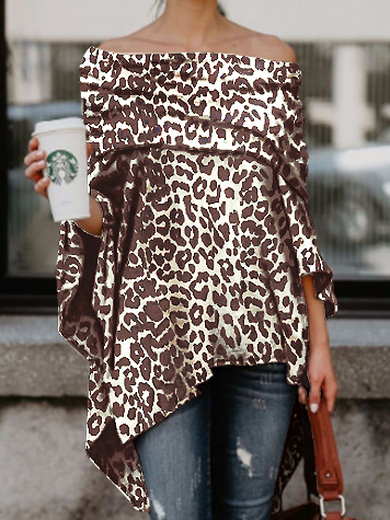 PMS T-Shirts Brown Leopard Print / s Off Shoulder  Leopard Printed Asymmetric T-Shirts