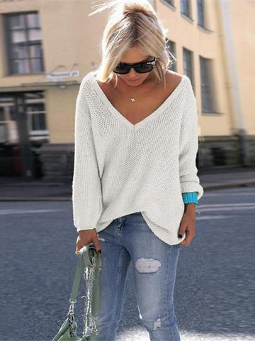 PMS T-Shirts White / m Fashion Long Sleeves Loose V Neck Sweater