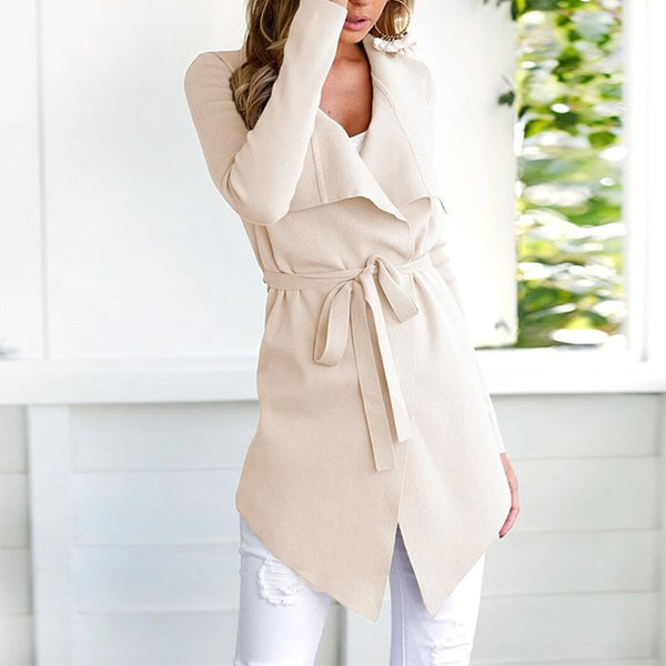 PMS Tops Apricot / m Fashion Lapel Long Sleeve Belt Asymmetrical Hem Cardigan
