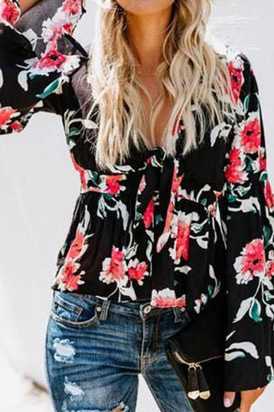 PMS Tops Black / s Deep V Neck  Floral Printed  Bell Sleeve  Blouses