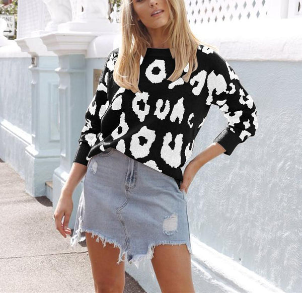 PMS Tops Black / s Four-Color Long-Sleeved Leopard Print Sweater