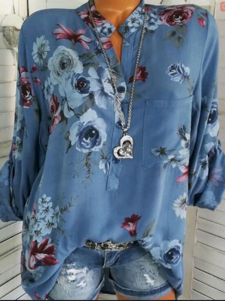 PMS Tops Blue / s Cotton V-Neck Button Floral Printed Blouses
