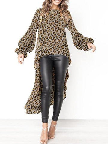 PMS Tops Brown Leopard Print / s Round Neck  Asymmetric Hem  Plain  Lantern Sleeve Blouse