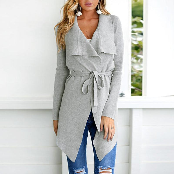 PMS Tops Gray / m Fashion Lapel Long Sleeve Belt Asymmetrical Hem Cardigan