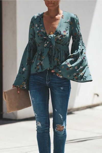 PMS Tops Green / s Deep V Neck  Floral Printed  Bell Sleeve  Blouses