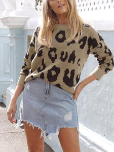 PMS Tops Khaki / s Four-Color Long-Sleeved Leopard Print Sweater