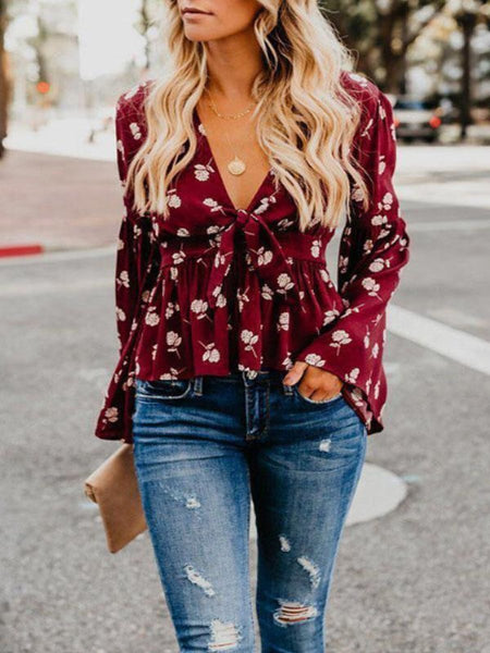PMS Tops Red / s Deep V Neck  Floral Printed  Bell Sleeve  Blouses