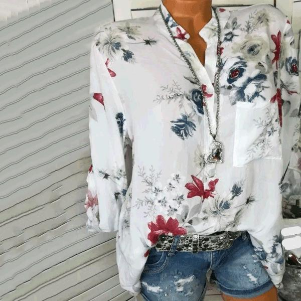 PMS Tops White / s Cotton V-Neck Button Floral Printed Blouses