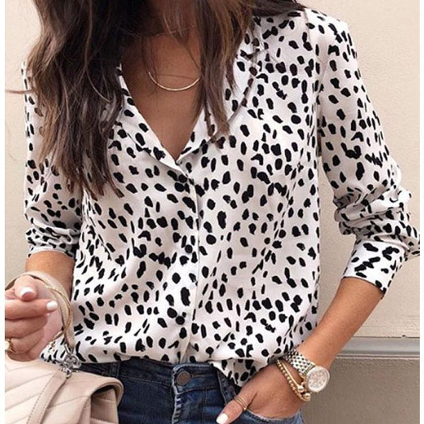 PMS Tops White / s Turn Down Collar  Leopard  Blouses