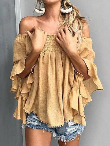 PMS Tops Yellow / s Off Shoulder  Backless  Abstract Print  Blouses