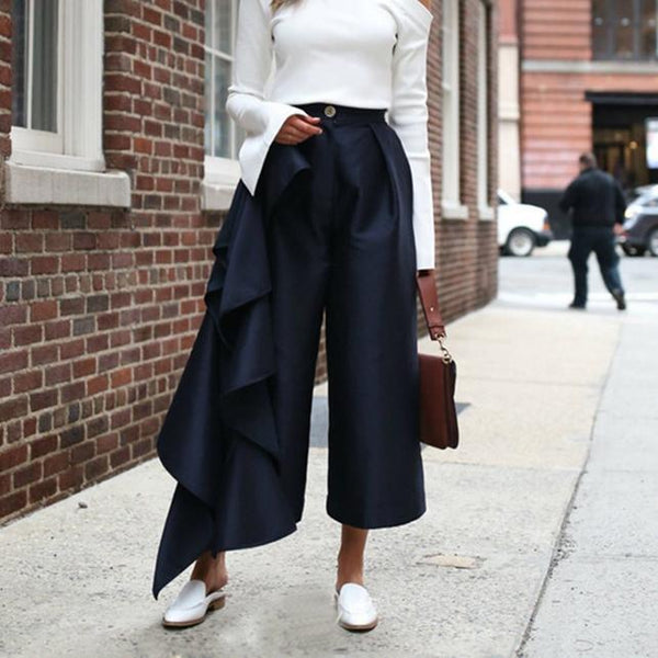 PMS Trousers Dark Blue / s Fashion Solid Color   Loose Broad Leg Trousers