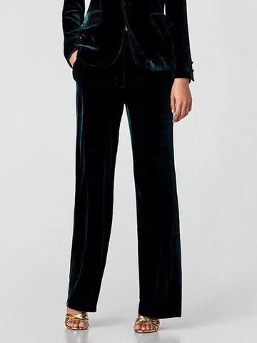 PMS Trousers Dark Green / l Chic Velvet Elastic With Wide-Leg Trousers