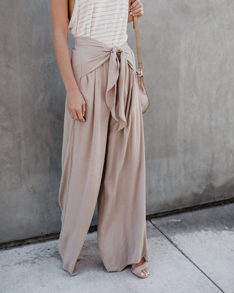 PMS Trousers Khaki / m Pure Color Tether Loose Leisure Trousers