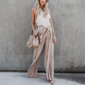 Pure Color Tether Loose Leisure Trousers