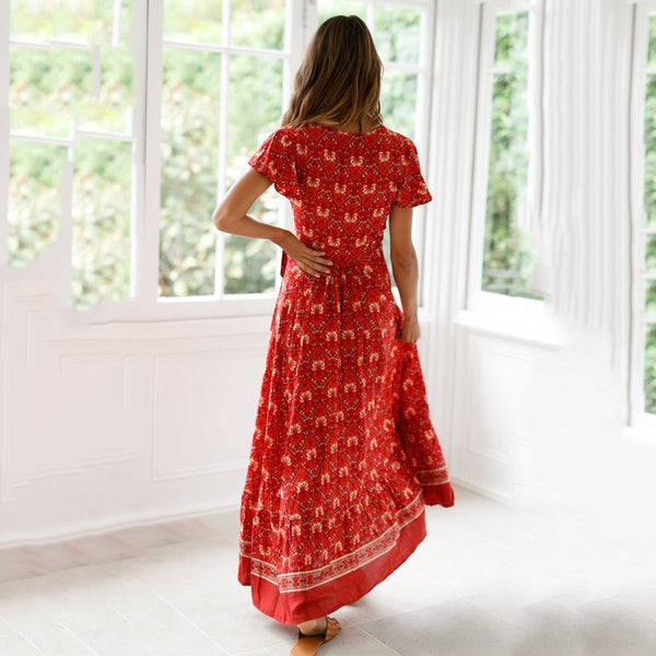 PMS Vacation Dresses Red / s Printed Slit V-Neck Short-Sleeved Vacation Maxi Dress