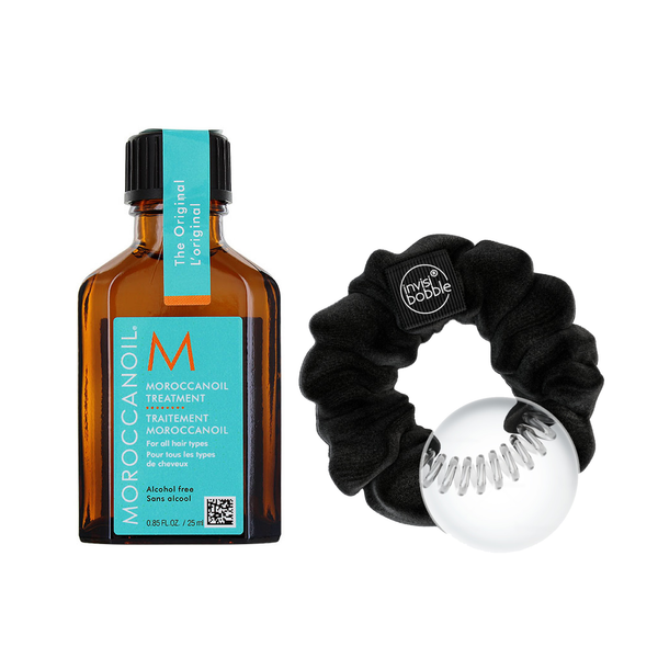 Duo Sprunchie velour Noir et traitement Moroccanoil - 25 ml (en solde)
