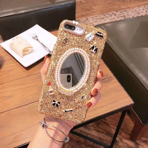 Bling + Charms Pearl Mirror Case