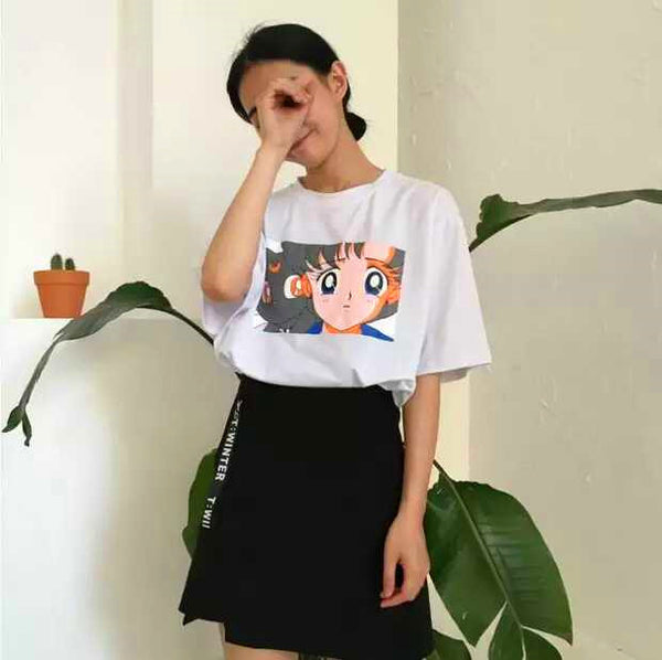 Cute Sailor Moon And Luna Tshirt PN0615