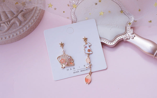 Kawaii Rabbit Sakura Earrings/Clips PN3230