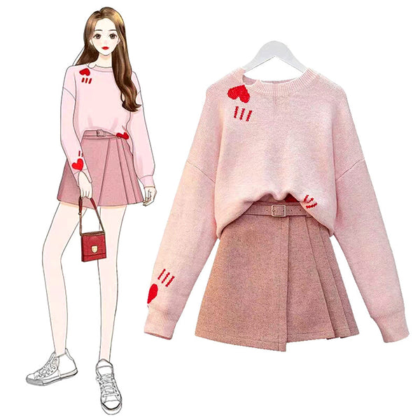 Fashion Sweater And Skirt  PN1009