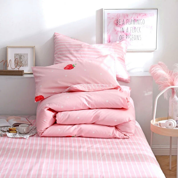 Kawaii Strawberry Bed sheet,Quiltcover,Pillowcover PN0101