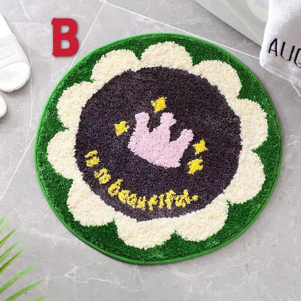 Kawaii Round Flowers Floor Mat PN2711