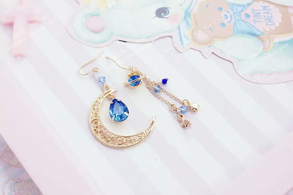 Pretty Moon And Star Asymmetrical Earrings PN0423