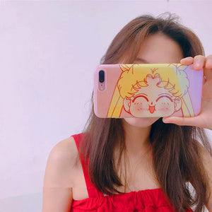 Kawaii Sailormoon Big Face Phone Case for iphone 6/6s/6plus/7/7plus/8/8P/X/XS/XR/XS Max PN0237